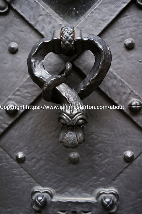 Detail of door handle at Prague Castle  in Czech Republic