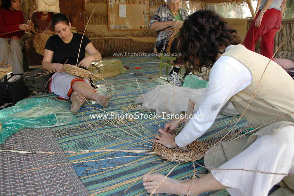 Woman weaves a basket of reeds