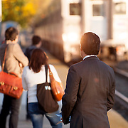 October 17, 2014 - Westwood, N.J. : Democrat Roy Cho, right, campaigns at the Westwood NJ Transit station on Friday morning. A candidate for Congress from NJ's 5th District, Cho is challenging Rep. Scott Garrett in the upcoming November elections. CREDIT: Karsten Moran for The New York Times