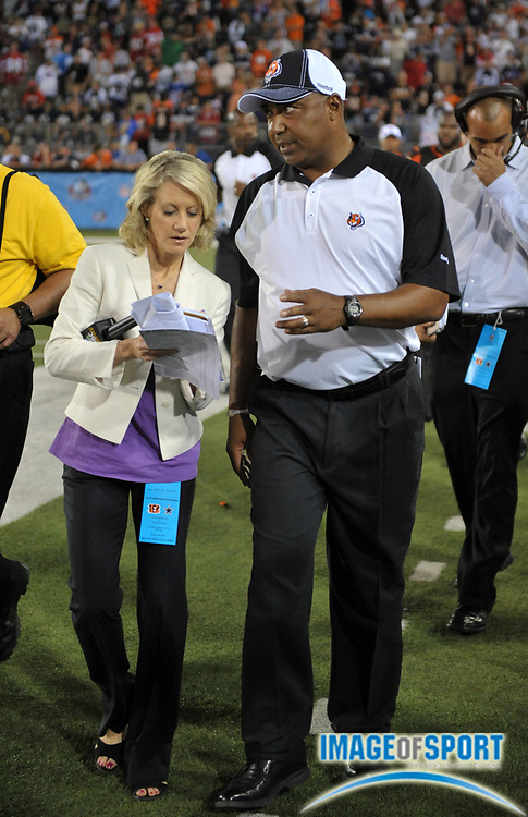 Aug 8, 2010; Canton, OH, USA; NBC Sports sideline reporter Andrea Kremer (left) interviews Cincinnati Bengals coach Marvin Lewis during the preseason game against the Dallas Cowboys at Fawcett Stadium. Photo by Image of Sport