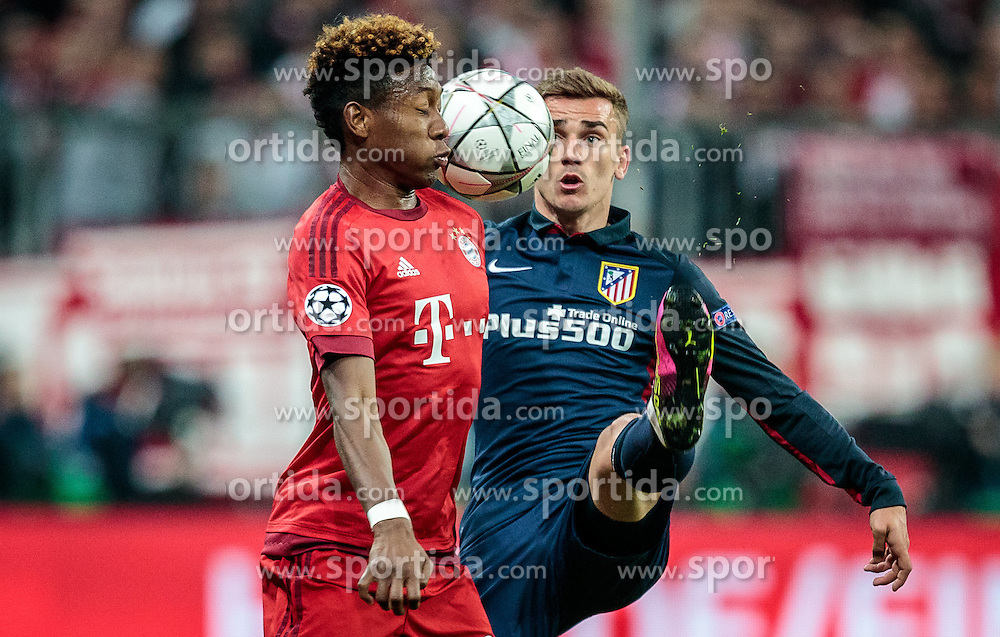 03.05.2016, Allianz Arena, Muenchen, GER, UEFA CL, FC Bayern Muenchen vs Atletico Madrid, Halbfinale, Rueckspiel, im Bild David Alaba (FC Bayern Muenchen), Antoine Griezmann (Atletico Madrid) // David Alaba (FC Bayern Muenchen) Antoine Griezmann (Atletico Madrid) during the UEFA Champions League semi Final, 2nd Leg match between FC Bayern Munich and Atletico Madrid at the Allianz Arena in Muenchen, Germany on 2016/05/03. EXPA Pictures © 2016, PhotoCredit: EXPA/ JFK