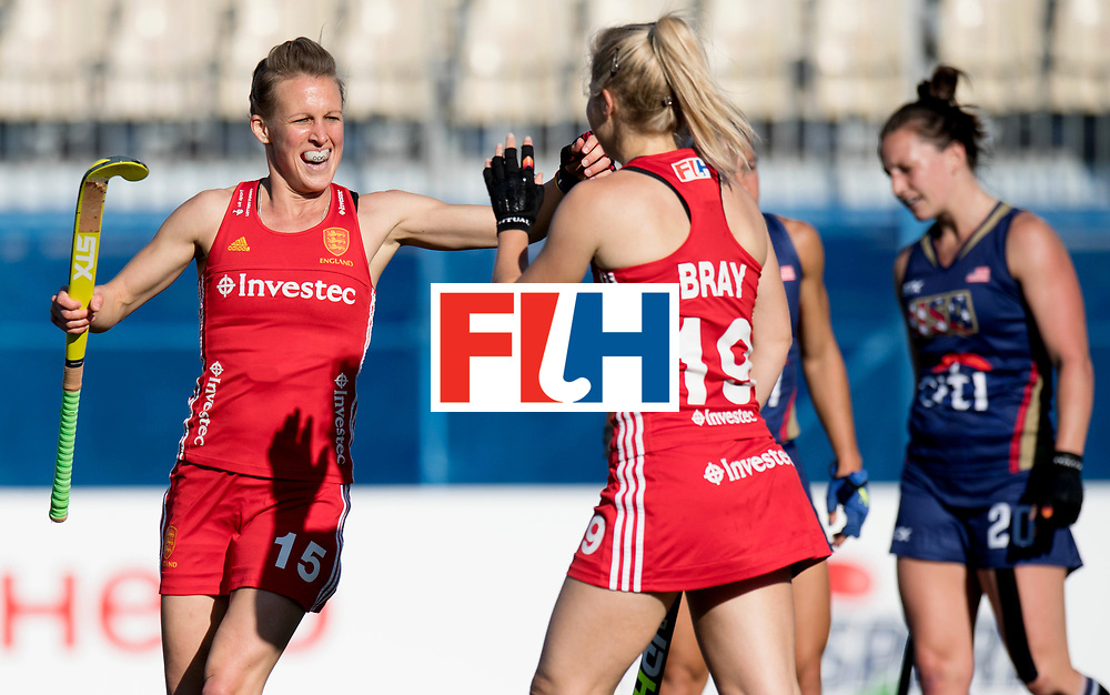 AUCKLAND - Sentinel Hockey World League final women<br /> Match id: 10304<br /> 15 USA v ENG (QF)<br /> Foto: Sophie Bray scores 0-1 and Alex Danson( C) <br /> WORLDSPORTPICS COPYRIGHT FRANK UIJLENBROEK