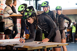 Rachele Barbieri signs in at Ronde van Drenthe 2017. A 152 km road race on March 11th 2017, starting and finishing in Hoogeveen, Netherlands. (Photo by Sean Robinson/Velofocus)