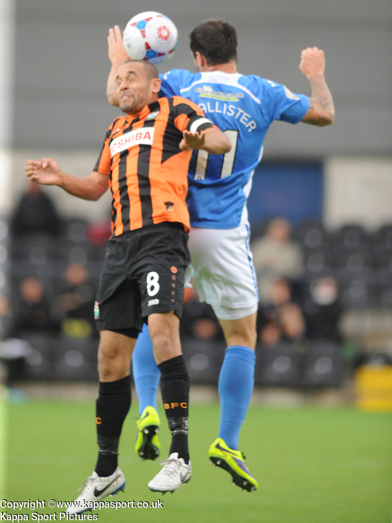Barnets Curtis Weston Holds of Eastleighs Craig Mcallister, Barnet v Eastleigh, Vanarama Conference, Saturday 4th October 2014