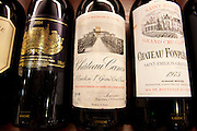 Fine wines Chateau Canon, Chateau Fonplegade, Chateau Palmer Medoc in wine merchants shop in St Emilion, Bordeaux, France