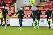 FGR players warming up during the EFL Sky Bet League 2 match between Leyton Orient and Forest Green Rovers at the Matchroom Stadium, London, England on 23 November 2019.