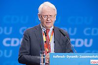 26 FEB 2018, BERLIN/GERMANY:<br /> Werner Michael Bahlsen, CDU, geschaeftsfuehrender Gesellschafter der Firma Bahlsen, Praesident des Wirtschaftsrates der CDU, CDU Bundesparteitag, Station Berlin<br /> IMAGE: 20180226-01-117<br /> KEYWORDS: Party Congress, Parteitag