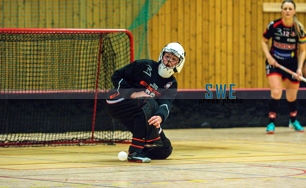 2018-03-24 | J&ouml;nk&ouml;ping, Sweden: Solfj&auml;derstadens IBK 86 Alva Dahl during the second qualifying playoff game to Allsvenskan between Hovsl&auml;tts IK and Solfj&auml;derstadens IBK at Idrottshuset ( Photo by: Marcus Vilson | Swe Press Photo )<br /> <br /> Keywords: Idrottshuset, J&ouml;nk&ouml;ping, Div. 1, Floorball, Hovsl&auml;tts IK, Solfj&auml;derstadens IBK, Alva Dahl