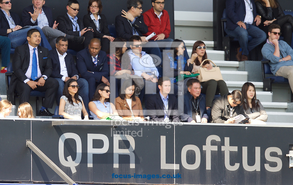 Queens Park Rangers chairman Tony Fernandes (2nd left middle row )during the Barclays Premier League match at the Loftus Road Stadium, London<br /> Picture by Alan Stanford/Focus Images Ltd +44 7915 056117<br /> 16/05/2015