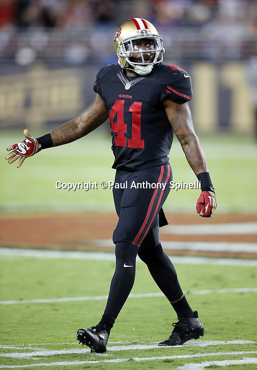 San Francisco 49ers strong safety Antoine Bethea (41) looks on during the 2015 NFL week 1 regular season football game against the Minnesota Vikings on Monday, Sept. 14, 2015 in Santa Clara, Calif. The 49ers won the game 20-3. (©Paul Anthony Spinelli)