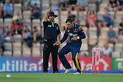 Andrew Salter of Glamorgan celebrates the wicket of Colin Munro during the Vitality T20 Blast South Group match between Hampshire County Cricket Club and Glamorgan County Cricket Club at the Ageas Bowl, Southampton, United Kingdom on 6 July 2018. Picture by Dave Vokes.