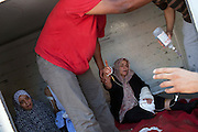 22 august 2011. Women wounded by snipers where trasported to the hospital the day after the rebels enter in Tripoli.
