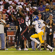 21 October 2016: The San Diego State Aztecs football team takes on the San Jose State Spartans Friday night at Qualcomm Stadium.  San Diego State running back Rashaad Penny (20) hauls in a reception for a first down in the second quarter. The Aztecs lead the Spartans 21-3 at halftime. www.sdsuaztecphotos.com