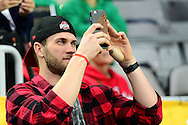 GLENDALE, AZ - JANUARY 01:  Bryce Harper of the Washington Nationals stands on the sidelines before the start of the BattleFrog Fiesta Bowl between the Ohio State Buckeyes and the Notre Dame Fighting Irish at University of Phoenix Stadium on January 1, 2016 in Glendale, Arizona.  (Photo by Jennifer Stewart/Getty Images)