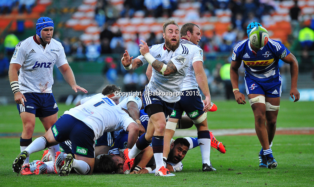 Jimmy Cowan of the Blues during the 2015 Vodacom Super Rugby game between the Stormers and the Blues at Newlands Rugby Stadium, Cape Town on 21 February 2015 ©Ryan Wilkisky/BackpagePix