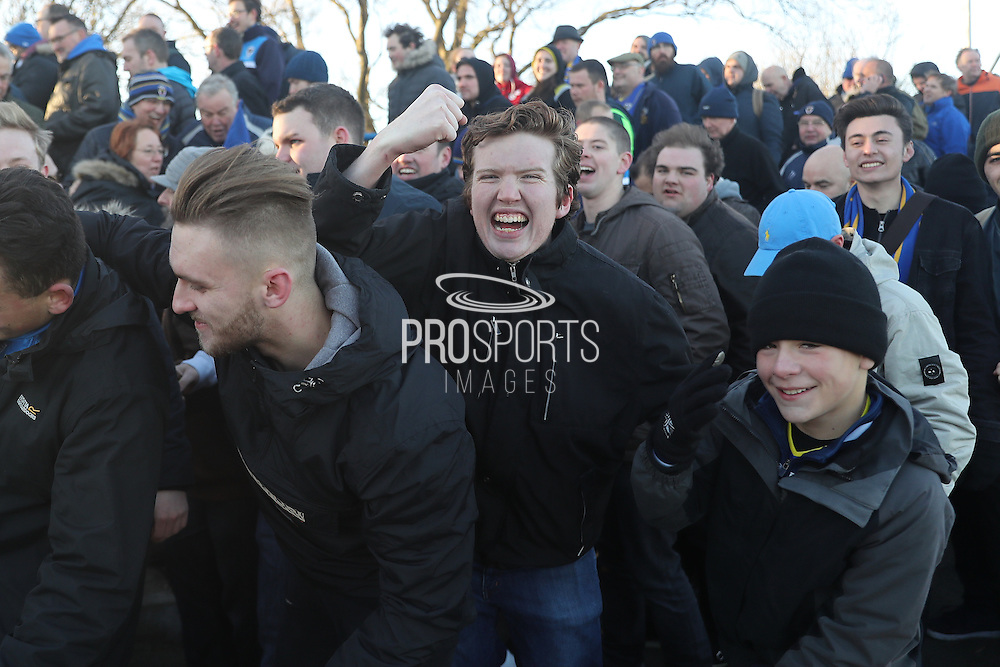football fans, football supporters during the The FA Cup match between Curzon Ashton and AFC Wimbledon at Tameside Stadium, Ashton Under Lyne, United Kingdom on 4 December 2016. Photo by Stuart Butcher.