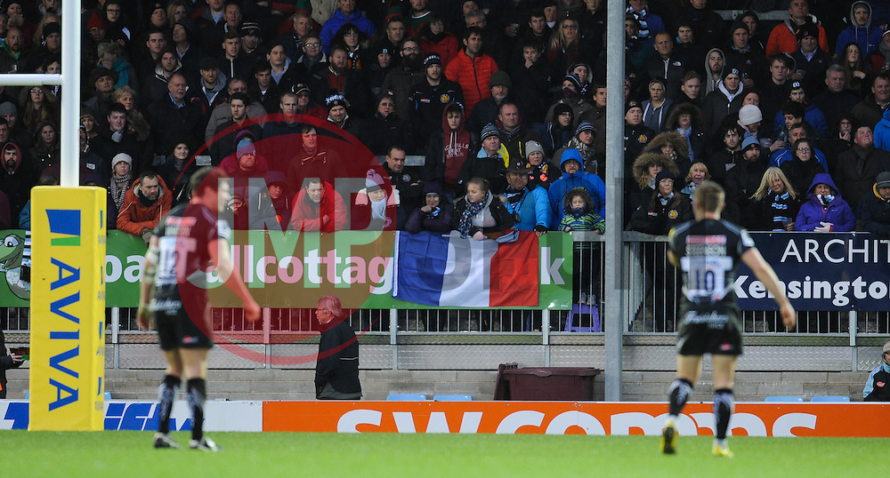 Fans display a French flag during the game.  - Mandatory byline: Alex Davidson/JMP - 28/11/2015 - RUGBY - Sandy Park - Exeter, England - Exeter Chiefs v Harlequins - Aviva Premiership