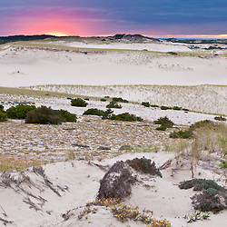 The Provinceland Dunes in Cape Cod National Seashore in Provincetown, Massachusetts. Sunset.