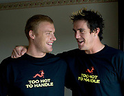 England cricketers Andrew Flintoff (left) and Kevin Pietersen wearing their 'Too hot to handle' tee-shirts in Lahore, Pakistan. Photo © Graham Morris (Tel: +44 [0]20 8969 4192/Email: sales@cricketpix.com) Ref. No. 05640g34
