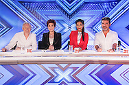 *** MANDATORY BYLINE TO READ: Syco / Thames / Dymond ***<br /> ***MANDATORY BYLINE TO READ: Syco/Thames/Dymond***<br /> <br /> Start of filming for the 2016 X Factor. The X Factor Judges, Simon Cowell, Sharon Osbourne, Nichole Scherzinger and Louis Walsh visit Leicester's King power Stadium for the first day of the room auditions.<br /> <br /> Pictured: Louis Walsh, Sharon Osbourne, Nicole Scherzinger and Simon Cowell<br /> Ref: SPL1300021  100616  <br /> Picture by: Syco / Thames / Dymond