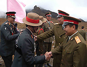 INDIAN AND CHINESE ARMY OFFICERS/SOILDERS ARE INTERACT WITH EACH OTHER AT ARUNACHAL PRADESH (INDIA)-CHINA INTERNATIONAL BORDER DURING FRIENDSHIP MEET BETWEEN INDIA AND CHINA, FEW MONTHS AGO, WHILE INDIAN CHIEF OF ARMY STAFF OR  ARMY CHIEF, N.C.VIJ WILL VISIT CHINA ON 25TH OCTOBER, 2005. PICTURE-SHIB SHANKAR CHATTERJEE.