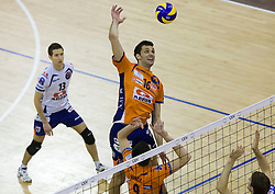Matej Vidic and Ales Fabjan of ACH Volley during volleyball match between ACH Volley (SLO) and Knack Roeselare (BEL) at Quarterfinals of CEV Challenge Cup 2011/2012, on February 8, 2012 in Arena Tivoli, Ljubljana, Slovenia. ACH Volley defeated Knack Roeselare 3-0. (Photo By Grega Valancic / Sportida.com)