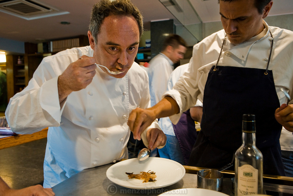 Ferran Adrià, chef of El Bulli restaurant on the Costa Brava in northeastern Spain, tastes throughout the afternoon and evening as he oversees the chefs at his world-famous eatery. (From the book What I Eat: Around the World in 80 Diets.)