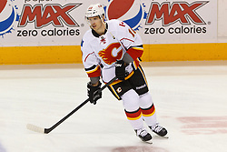Jan 17, 2012; San Jose, CA, USA; Calgary Flames right wing Blake Comeau (10) warms up before the game against the San Jose Sharks at HP Pavilion. San Jose defeated Calgary 2-1 in shootouts. Mandatory Credit: Jason O. Watson-US PRESSWIRE