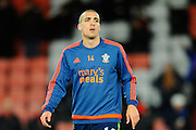 Southampton midfielder Oriol Romeu in the warm up before the Barclays Premier League match between Bournemouth and Southampton at the Goldsands Stadium, Bournemouth, England on 1 March 2016. Photo by Graham Hunt.