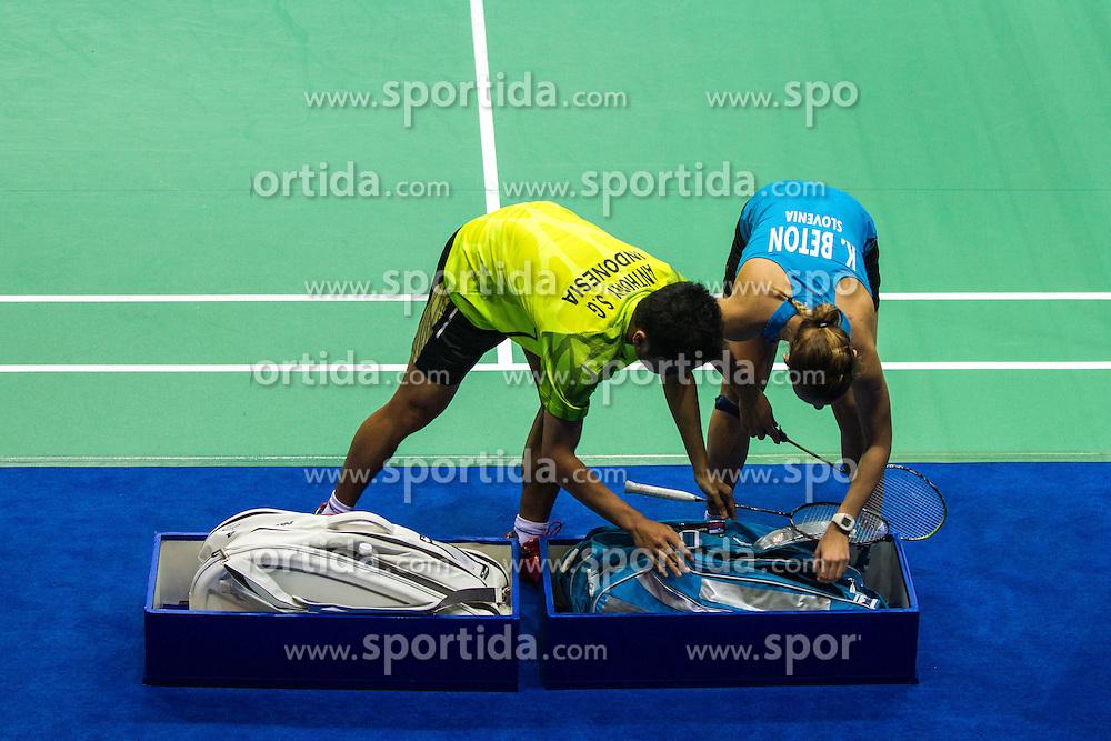 Katarina Beton, slovenian badminton player, at 2nd Summer Youth Olympic Games in Nanjing, China. Photo by: Peter Kastelic