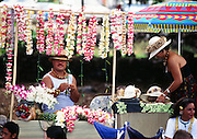 Lei seller, Kona, Big Island of Hawaii, Hawaii