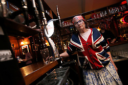 UK ENGLAND LONDON 20JUN16 - Sandra Esqulant, pub landlord of the Golden Heart for 37 years poses for a photo after the televised UEFA Cup match between England and Slovakia at her pub in Spitalfields, East  London.<br /> <br /> jre/Photo by Jiri Rezac<br /> <br /> © Jiri Rezac 2016