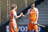 ROTTERDAM - HOCKEY -  Klaas Vermeulen en Quirijn Caspers   tijdens de oefenwedstrijd tussen de mannen van Nederland en Engeland (2-1) . FOTO KOEN SUYK