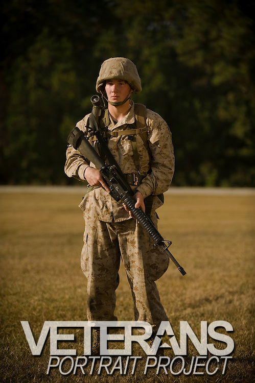 Marine Corps recruit Zach Prager stands near the obstacle course at Parris Island, S.C., on Nov. 24, 2007. (Photo by Stacy L. Pearsall)