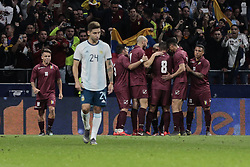 March 22, 2019 - Madrid, Spain - Venezuela's players celebrate goal during International Adidas Cup match between Argentina and Venezuela at Wanda Metropolitano Stadium. (Credit Image: © Legan P. Mace/SOPA Images via ZUMA Wire)