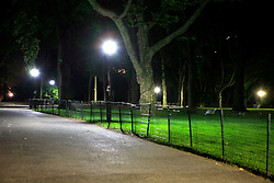USA NEW YORK 5JUN10 - LED street lights illuminate a section of Central Park in midtown Manhattan, New York...jre/Photo by Jiri Rezac..© Jiri Rezac 2010