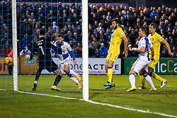 Matt Taylor of Bristol Rovers scores a goal past James Shea of AFC Wimbledon to make it 1-0 - Rogan Thomson/JMP - 31/12/2016 - FOOTBALL - Memorial Stadium - Bristol, England - Bristol Rovers v AFC Wimbledon - Sky Bet League One.