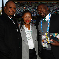 Xola Ntshinga Supersport rugby commentator with Motshidisi Mohono Supersport rugby commentator and Owen Nkumane Supersport rugby commentator during the 2018 Castle Lager Incoming Series 2nd Test match between South Africa and England at the Toyota Stadium.Bloemfontein,South Africa. 16,06,2018 Photo by (Steve Haag JMP)