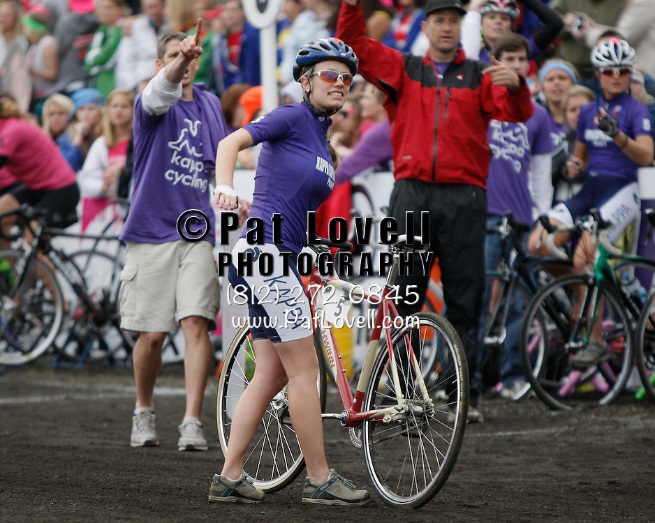 April 15, 2011:  Kappa Cycling gets set to change riders during the Women's Little 500 bicycle race held at Armstrong Stadium on the campus of Indiana University in Bloomington, IN.