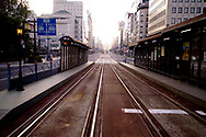 Streetcar tram tracks in downtown Hiroshima, Japan.  Light rail tracks form the backbone of the public transportation system in the city of Hiroshima.