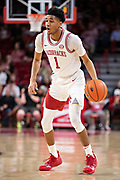 FAYETTEVILLE, AR - MARCH 9:  Isaiah Joe #1 of the Arkansas Razorbacks with the ball during a game against the Alabama Crimson Tide at Bud Walton Arena on March 9, 2019 in Fayetteville, Arkansas.  The Razorbacks defeated the Crimson Tide 82-70.  (Photo by Wesley Hitt/Getty Images) *** Local Caption *** Isaiah Joe