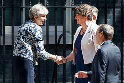 © Licensed to London News Pictures. 26/06/2017. London, UK. The DUP leader ARLENE FOSTER and Prime Minister THERESA MAY meet in Downing Street as they hope to finalise their deal to form a propped up minority government on Monday, 26 June 2017. Photo credit: Tolga Akmen/LNP