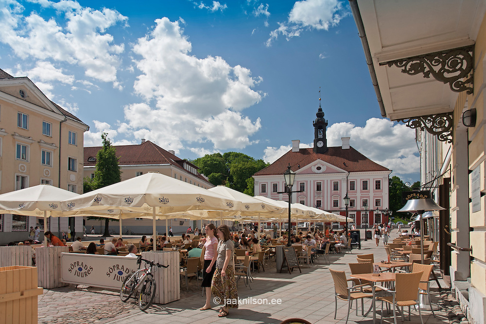 Open-Air Cafe in Tartu, Town Hall Square, Estonia, Europe