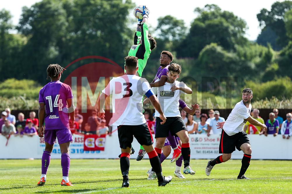 Freddie Hinds of Bristol City is denied a header by the keeper - Rogan/JMP - 09/07/2017 - The Creek - Bristol, England - Bristol Manor Farm v Bristol City - Pre-season Friendly.