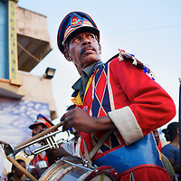 A band plays music at a DMK (Dravida Munnetra Kazhagam) pre-election rally in Chennai at which leader  M.K. Stalin spoke. <br /> <br /> Photo: Tom Pietrasik<br /> April 6th 2014<br /> Chennai, India