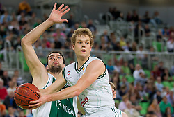 Jure Lalic of Krka vs Jaka Blazic of Union Olimpija during basketball match between KK Union Olimpija and KK Krka in 4th Final match of Telemach Slovenian Champion League 2011/12, on May 24, 2012 in Arena Stozice, Ljubljana, Slovenia.  (Photo by Vid Ponikvar / Sportida.com)