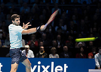 Tennis - 2017 Nitto ATP Finals at The O2 - Day Eight<br /> <br /> Final : Grigor Dimitrov (Bulgaria) Vs David Goffin (Belguim) <br /> <br /> Grigor Dimitrov (Bulgaria) powers his return as he tries to become the first Bulgarian winner at the O2 Arena <br /> <br /> COLORSPORT/DANIEL BEARHAM