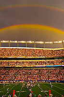 A double rainbow over the stadium, Denver Broncos vs. Pittsburgh Steelers NFL football game, Invesco Field at Mile High (stadium), Denver, Colorado USA
