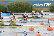 Eton Dorney, Windsor, Great Britain,..2012 London Olympic Regatta, Dorney Lake. Eton Rowing Centre, Berkshire[ Rowing]...Description;  Heat, Men's double Sculls: .Luka SPIK (b) , Iztok COP (s).LTU.M2X Rolandas MASCINSKAS (b) , Saulius .GBR M2X Bill LUCAS (b) , Sam TOWNSEND (s).NOR.M2X Nils Jakob HOFF (b) , Kjetil BORCH (s).FRA.M2X Julien BAHAIN (b) , Cedric BERREST (s).CAN M2X Michael BRAITHWAITE (b) , Kevin KOWALYK (s)..Dorney Lake. 12:30:02  Tuesday  31/07/2012.  [Mandatory Credit: Peter Spurrier/Intersport Images].Dorney Lake, Eton, Great Britain...Venue, Rowing, 2012 London Olympic Regatta...