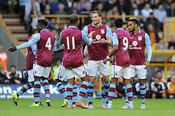 Libor Kozak of Aston Villa celebrates with his team mates after scoring - Mandatory by-line: Dougie Allward/JMP - 07966386802 - 28/07/2015 - SPORT - FOOTBALL - Wolverhampton,England - Molineux Stadium - Wolves v Aston Villa - Pre-Season Friendly
